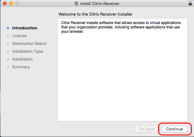 Continue clicking continue until you have installed the Citrix Receiver client