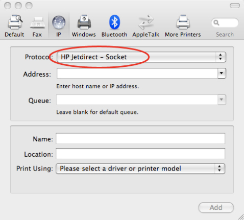 how to add an ip address to a printer